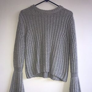 Charlotte russe gray sweater with bell sleeves
